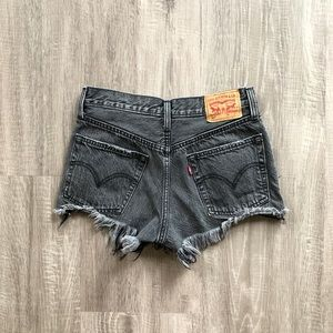 Levi's 501 Gray High Rise Button Fly Cutoff Shorts